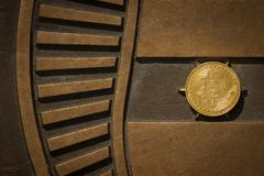 Bit coin with shiny metal background royalty free stock photos