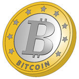 Bit coin side view white Stock Image