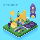 Bit Coin Start Up Illustration. Bit coin start up project, crypto currency mining and transaction, computer hardware, blue background isometric vector Vector Illustration