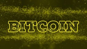 Bit-coin Text on abstract background. Bit-coin Text Animation on abstract yellow Particle background– stock footage vector illustration