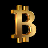 Bit coin. Vector illustration of golden sign virtual currency bit cion on black Stock Photo