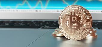 Bit coins, gold coin for web, 3d render illustration. Bit coins makes with gold, computer money Stock Images