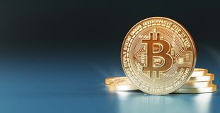 Bit coins, gold coin for web, 3d render illustration. Bit coins makes with gold, computer money Stock Photography