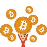 Bit coins and ladies stock images