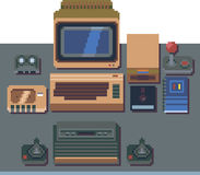 8 bit computer nostalgia. Some computer stuff of the 80`s years. A 8 bit computer, a crt monitor, a floppy drive and a cassette recorder. And many other vintage Royalty Free Illustration