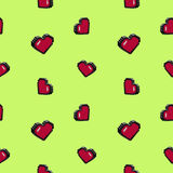 8bit 3d hearts. Shape pattern vector illustration
