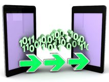 Bit e byte di dati di trasferimento dal telefono al telefono Fotografia Stock Libera da Diritti