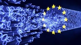 Bit e byte di UE GDPR in flusso di dati Immagini Stock