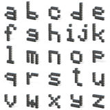 8 bit font. Lowercase letters ALL. 3D Royalty Free Stock Images
