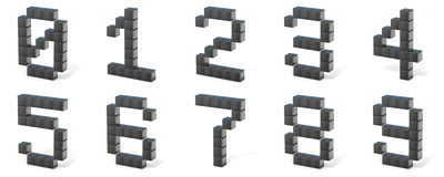 8 bit font. Numbers. 3D. Render illustration isolated on white background Stock Photography