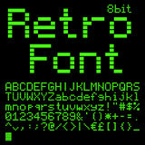 8 bit font. Old computer pixel interlaced font. like on green monitor 5x7 pixels glyphs charset, bold style vector set Royalty Free Stock Image