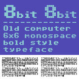 8 bit font. Old computer pixilate font. 6x6 pixels glyphs charset, bold style vector set Royalty Free Stock Photo
