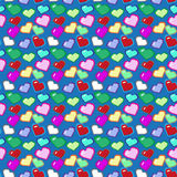 8 bit hearts pattern. Color vector illustration