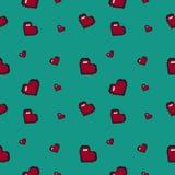 8bit  hearts pattern. Green Royalty Free Stock Photos