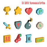 8 bit isometric icons. Pixel art Royalty Free Stock Photography