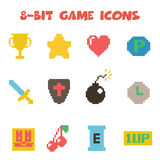 8 bit item icons color. 8 bit item icons, flat vector symbols Royalty Free Stock Photos