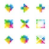 9 bit item icons, flat. Symbols stock illustration