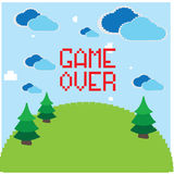 8-bit object. Colored pixeled backgrond with text, clouds and trees vector illustration