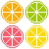8-Bit-Pixel Art Citrus Fruit Slices - Orange, Kalk, Pampelmuse, Lizenzfreie Stockfotos