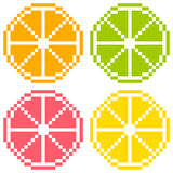 8-bit Pixel Art Citrus Fruit Slices - Orange, Lime, Grapefruit,. Orange, Lime, Grapefruit, Lemon in pixel-art form. Each one on a separate layer. Seamless royalty free illustration