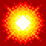 8-Bit Pixel-art Explosion. On a Red Background stock illustration