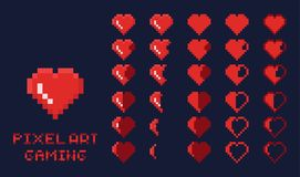 8 bit pixel art GUI Game design element - heart for health gradation. Isolated vector Royalty Free Illustration