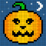 8-bit Pixel Art Halloween Pumpkin Royalty Free Stock Photo