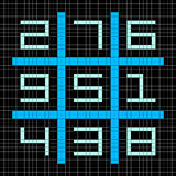 8-bit Pixel Art Magic Square with Numbers 1-9. Assets separated onto separate layers royalty free illustration