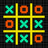 8-bit Pixel Art Noughts and Crosses - Stalemate Game Royalty Free Stock Image