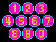 8-Bit Pixel Art Numbers in Circles. EPS8 Vector. Each number is on its own separate layer, and left as separate squares for easy manipulation. No transparency Vector Illustration
