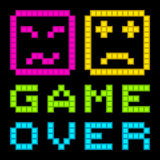 8-Bit Pixel-Art Retro Arcade Game Over Message. EPS8 Vector. Each coloured assets is on a separate layer, and left as separate squares for easy manipulation. No stock illustration