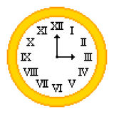 8-bit Pixel-art Roman Numeral Clock. Retro clock depicted in an 8-bit pixel art style, showing 3 o'clock. EPS8 with assets on separate layers royalty free illustration