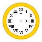 8-bit Pixel-art Roman Numeral Clock Stock Images