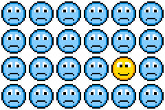 8-bit Pixel Art Sad Faces and One Happy Face Stock Images