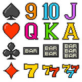 8-bit Pixel Art Slot Machine Symbols. Popular slot machine symbols depicted in 8-bit pixel art form royalty free illustration