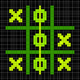 8-bit Pixel Art Tic Tac Toe Game - Winning Position. Tic Tac Toe winning game position depicted in 8-bit pixel art royalty free illustration