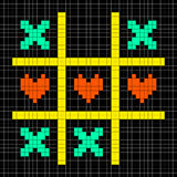 8-bit Pixel Art Tic Tac Toe With Kisses and Love Heart Symbols Stock Photos