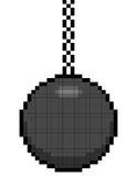 8-bit pixel art wrecking ball on a chain. Assets are on separate layers vector illustration