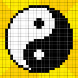 8-bit Pixel-art Yin Yang Symbol. On a Yellow Background. Each pixel is a separate square and assets are on separate layers stock illustration