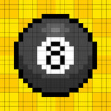 8-bit Pixel 8-ball. 8-bit pixel representation of the 8 billiard ball on a yellow background royalty free illustration