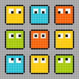 8-bit pixel block characters looking in different directions vector illustration