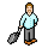 8-bit Pixel Businessman. 8-bit pixel-art representation of a smart businessman dragging a suitcase royalty free illustration