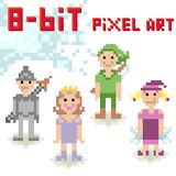 8-bit pixel character set of fantasy people Stock Photo