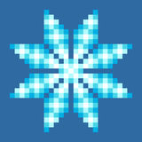 8-Bit Pixel Crystalline Snowflake. EPS8 Vector with each square separated for easy modifications royalty free illustration