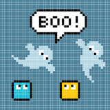 8-bit pixel ghosts say boo. The ghosts, speech bubble and pixel characters are on separate layers to the background. Created in Adobe Illustrator. Each pixel royalty free illustration