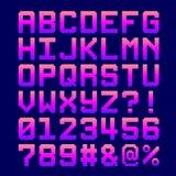 8-Bit-Pixel-Guss - Buchstaben und Zahlen in einer rosa Steigung Stockfotografie