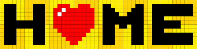8-bit Pixel Lettering of Home with Love Heart Stock Images