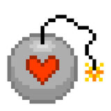 8-bit pixel love bomb. Ready to explode stock illustration
