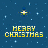 8-bit Pixel Merry Christmas Message with Star of Bethlehem. Each pixel is left as a square for any amends royalty free illustration