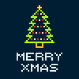 8-bit Pixel Merry Xmas Christmas Tree. EPS8 Vector with squares on separate layers vector illustration